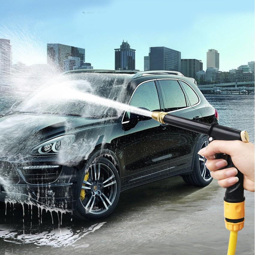 Bộ dây và vòi xịt rửa xe tưới cây tăng áp,vòi xịt rửa,vòi tưới cây 810-2498 (dây xám- cút nối xanh)