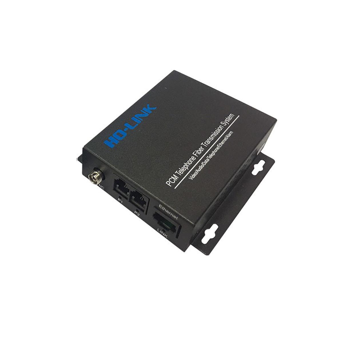 Bộ chuyển đổi quang thoại 2 Kênh J11 kèm 1 cổng LAN ( gồm 2 chiếc,2 adapter) Ho-link HL-2PCM1E-20T/R - Hàng Chính hãng