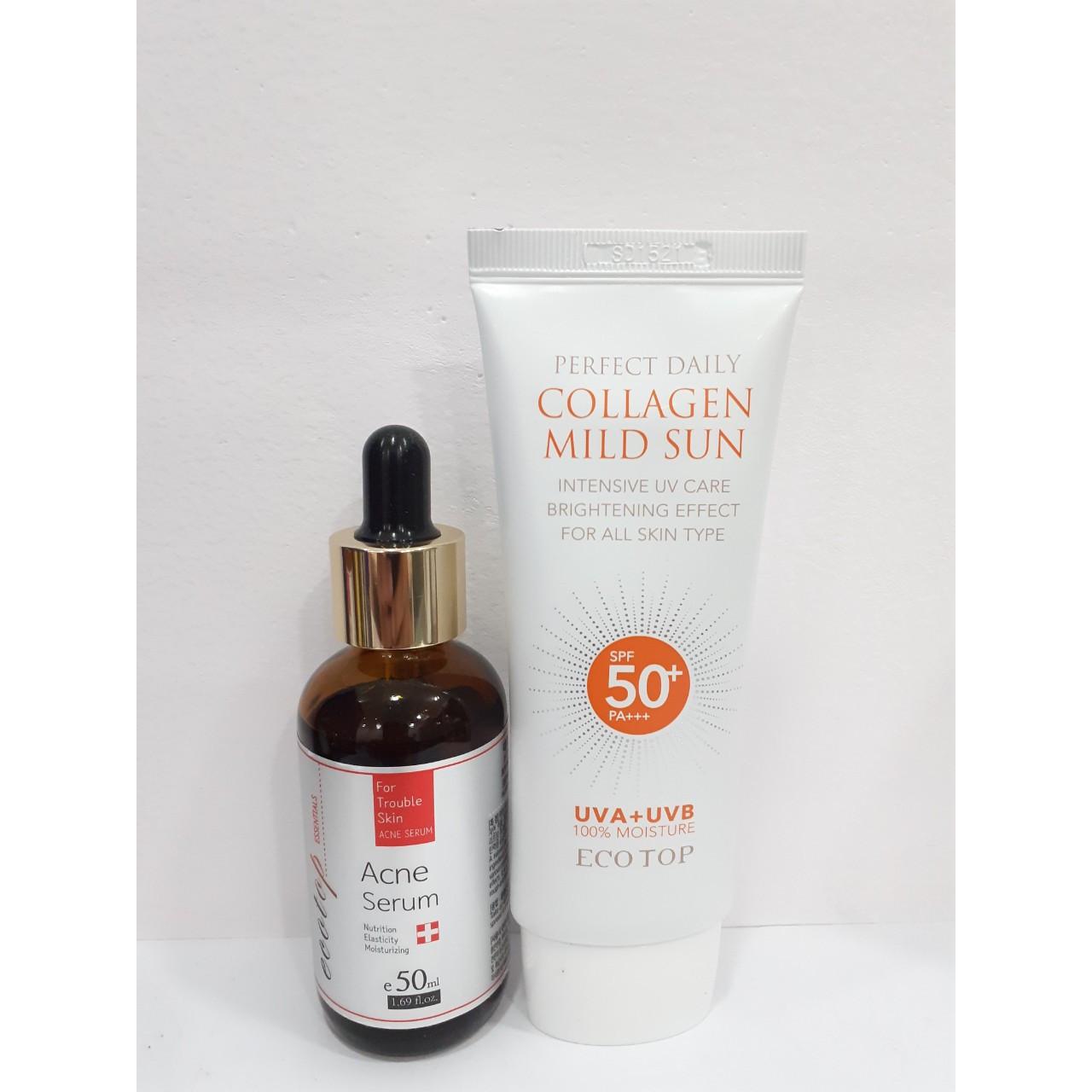 Combo Serum giảm mụn Ecotop 50ml + Kem chống nắng collagen SPF 50+ 70ml (Tặng 1 hộp mặt nạ Jant Blanc 10 miếng)