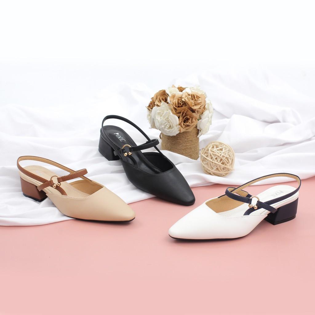 Giày Cao Gót 3cm Hở Gót Mix Nhiều Màu Màu Đen Pixie X466