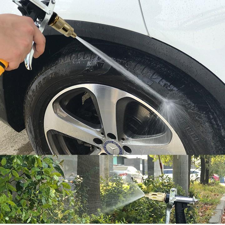 Bộ dây vòi xịt nước rửa xe, tưới cây đa năng, tăng áp 3 lần, loại 7m, 10m 206236 đầu đồng,đai+ tặng móc khoá