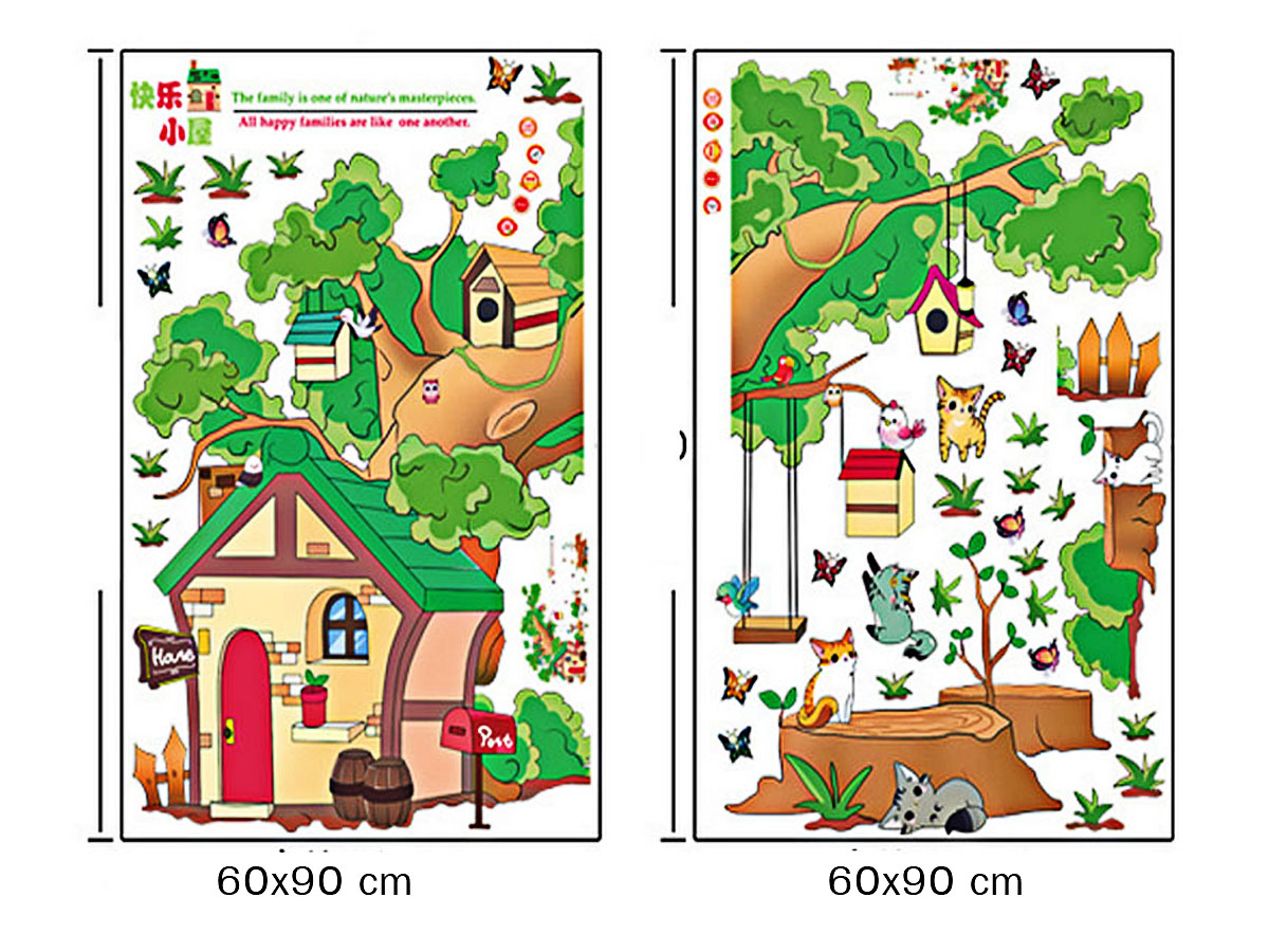 Decal dán tường cho bé ngôi nhà hoạt hình trên cây của bé mèo am9228