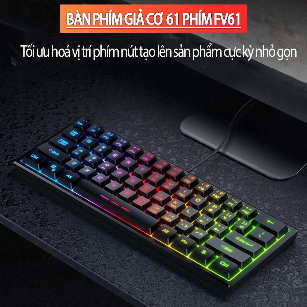 VINETTEAM Bàn Phím Chơi Game Mini 61 Phím Nhỏ Gọn Led Rainbow Đổi Màu Với 3 Chế Độ Led - Hàng Chính Hãng