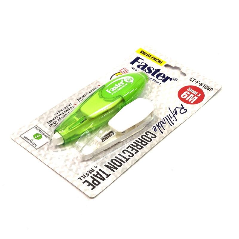 Bút Xóa Kéo Kèm Ruột Thay Thế Faster 5mm x 6m - CT-F-610VP - Xanh Lá