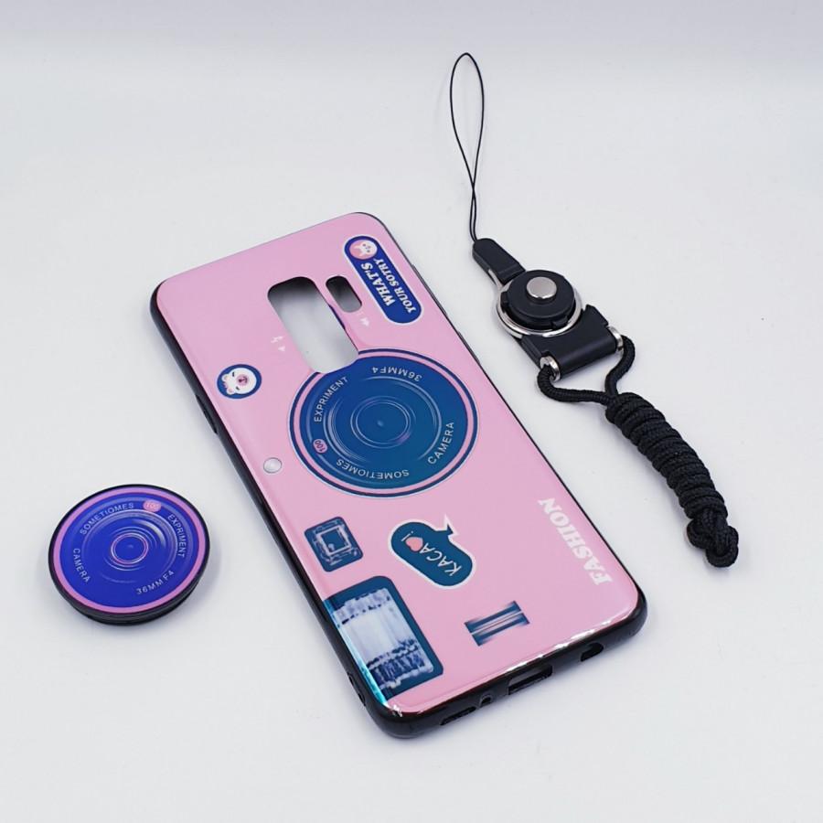 Ốp lưng hình máy ảnh kèm giá đỡ và dây đeo dành cho Samsung Galaxy S7,S7 Edge,S8,S8 Plus,S9,S9 Plus,S10,S10 Plus - Samsung Galaxy S9 Plus - Hồng