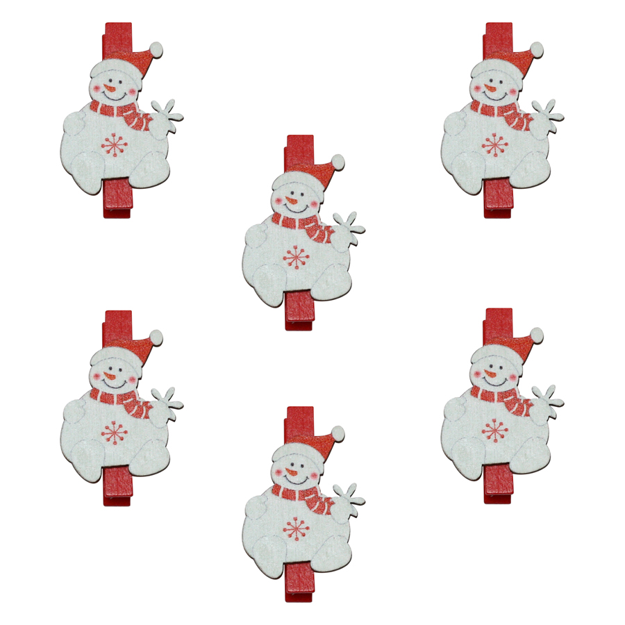 Bộ 6 Kẹp Ảnh Gỗ Trang Trí Giáng Sinh - Người Tuyết