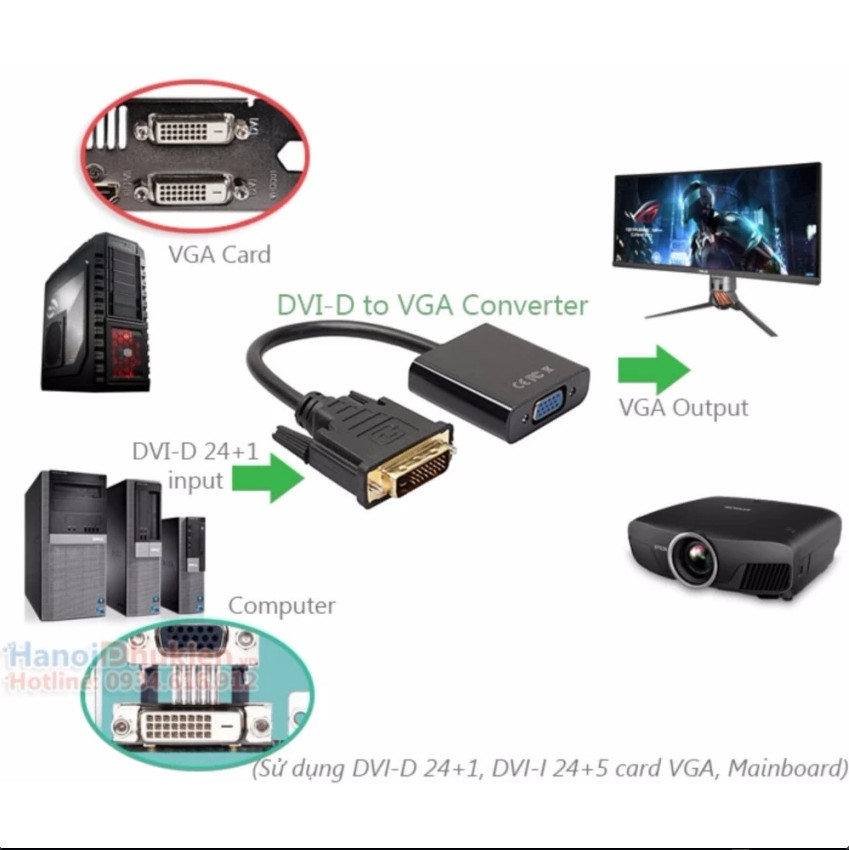 Cáp chuyển đổi DVI-D 24+1 sang VGA Female