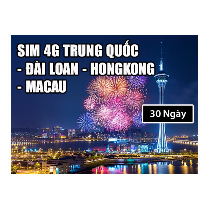 Sim 4G Du Lịch Trung Quốc - Đài Loan - Hongkong - Macau Tại Việt Nam-Mẫu ngẫu nhiên