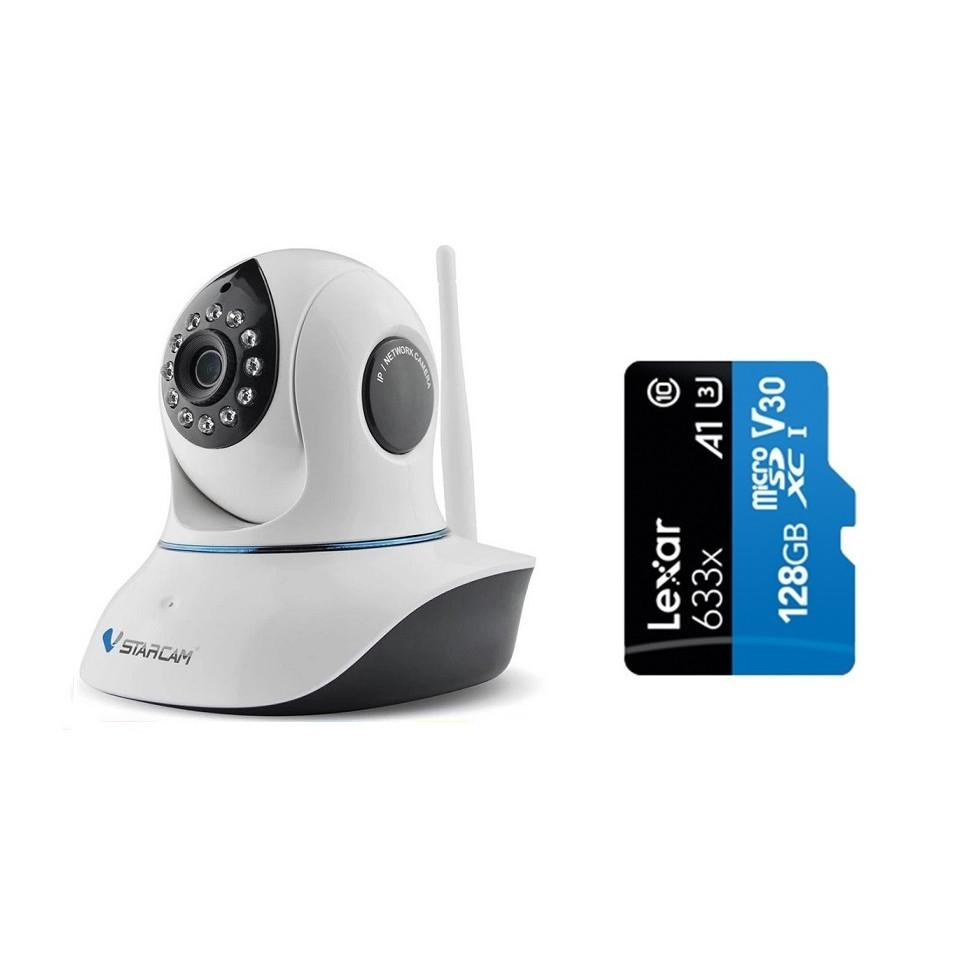 Camera IP Wifi VStarcam C38s 2.0 - Full HD 1080p , Lắp trong nhà , camera không dây , Kèm thẻ nhớ 128GB A1 Lexar  - Hàng chính hãng
