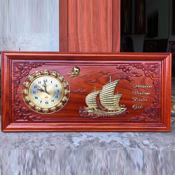 Tranh đồng hồ gỗ hương Thuận Buồm Xuôi Gió