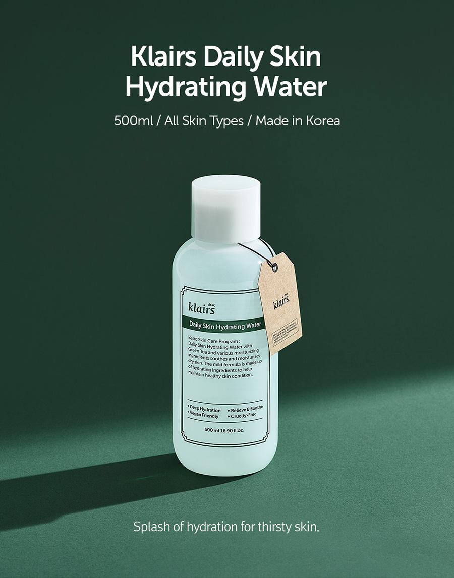 Nước Hoa Hồng Dưỡng Ẩm, Chống Oxy Hóa Klairs Daily Skin Hydrating Water 500ml