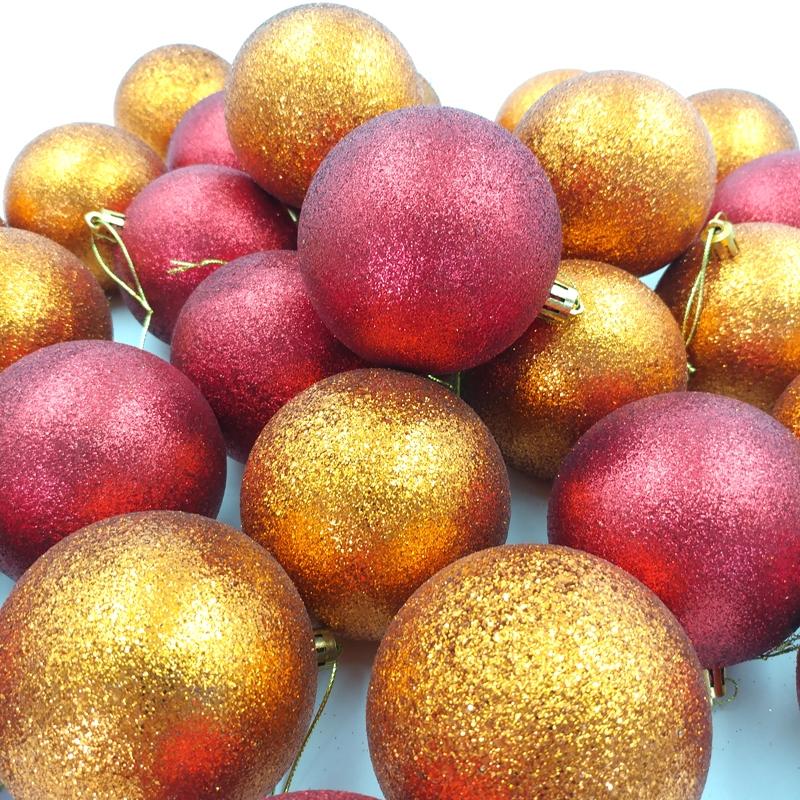 Bộ 30 Trái Châu Bóng 2 Tone Trang Trí Giáng Sinh 80 - Màu Đỏ-Cam