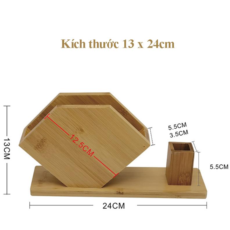 Hộp khay để giấy ăn Kèm lọ tăm bằng gỗ Tre ép chống mối mọt cong vênh rất tiện lợi mà lại sang trọng,Kích thước 13 x 24cm,Màu vàng gỗ tre nguyên bản - Hộp khăn giấy để bàn ăn