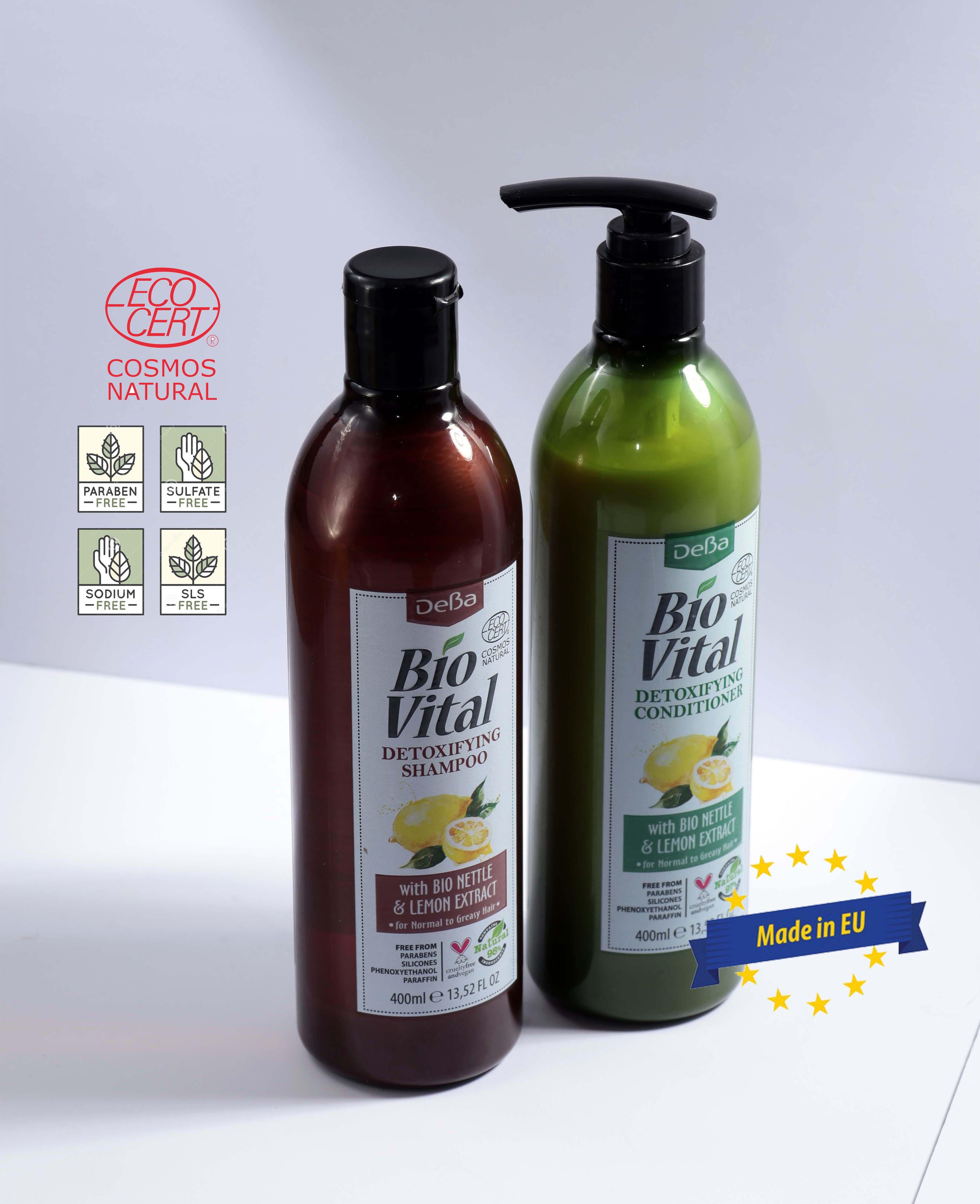 Bộ Gội Xả Hữu Cơ Nhập Khẩu Thải Độc Cho Tóc Dầu Deba Bio Vital Nettle & Lemon
