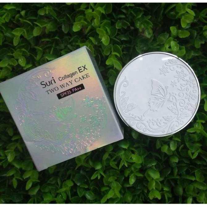 Phấn trang điểm siêu mịn Suri Collagen Two Way Cake Hàn Quốc 100g No.12 Da Sáng tăng kèm móc khoá