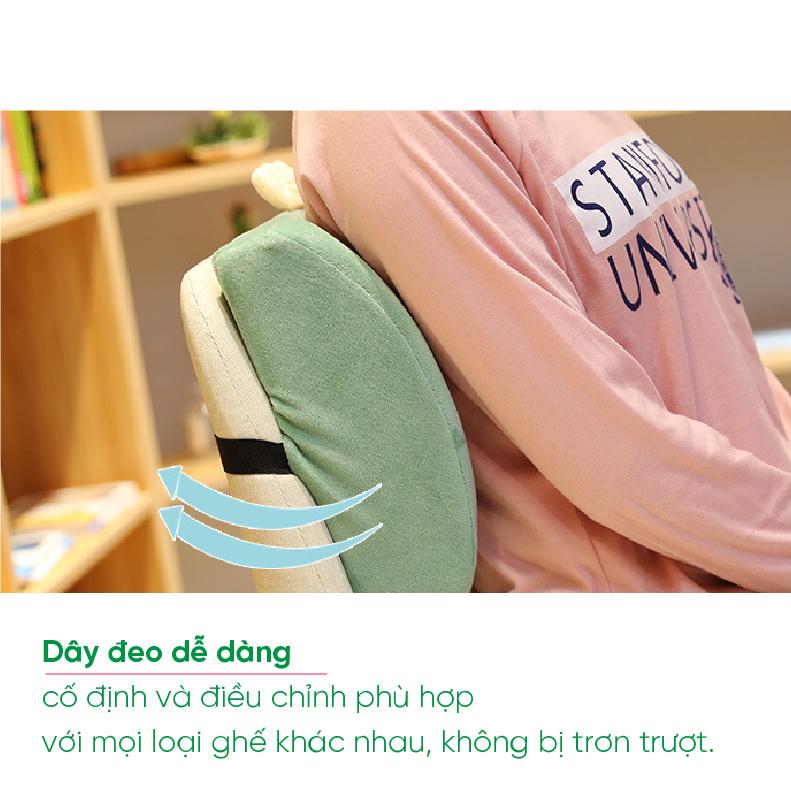 Gối tựa lưng ghế văn phòng hình thú giúp không đau lưng. Gối lót lưng vô cùng mềm mại và thoải mái