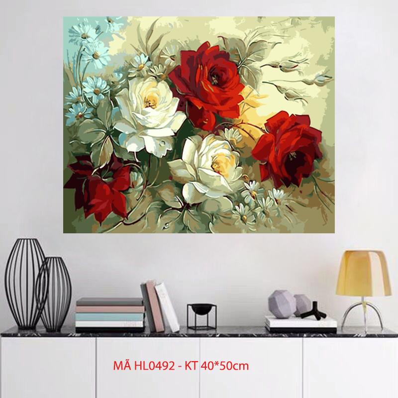 Tranh sơn dầu kỹ thuật số tự tô màu - Mã HL0492 Hoa hồng Tranh về hoa trang trí nhà cửa