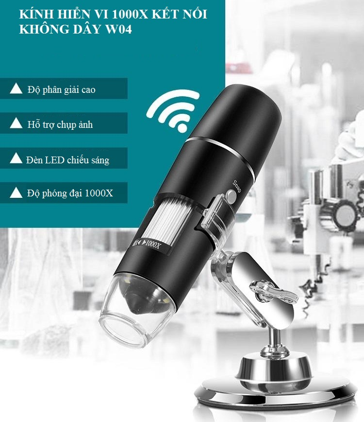 Kính hiển vi soi côn trùng có đèn led kết nối không dây qua wifi phóng đại 1000X thông minh (Tặng 3 nút kẹp cao su giũ dây điện -màu ngẫu nhiên)