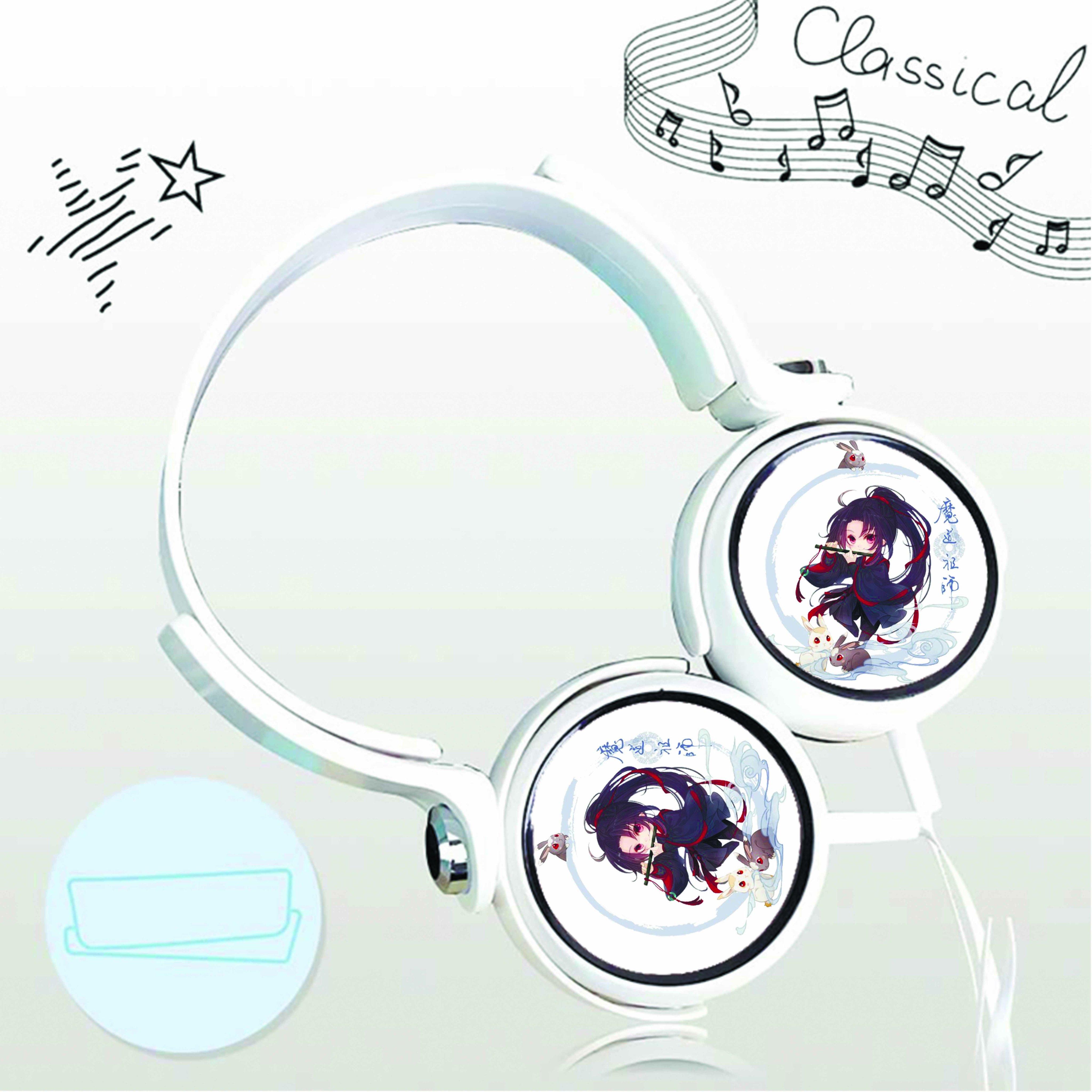 Tai nghe chụp in hình Ngụy Vô Tiện Ma Đạo Tổ Sư anime chibi cắm dây có mic