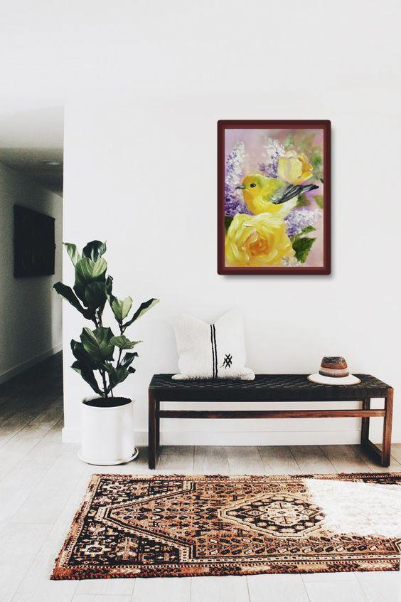 Tranh sơn dầu họa sỹ sáng tác vẽ tay: CHIM 1