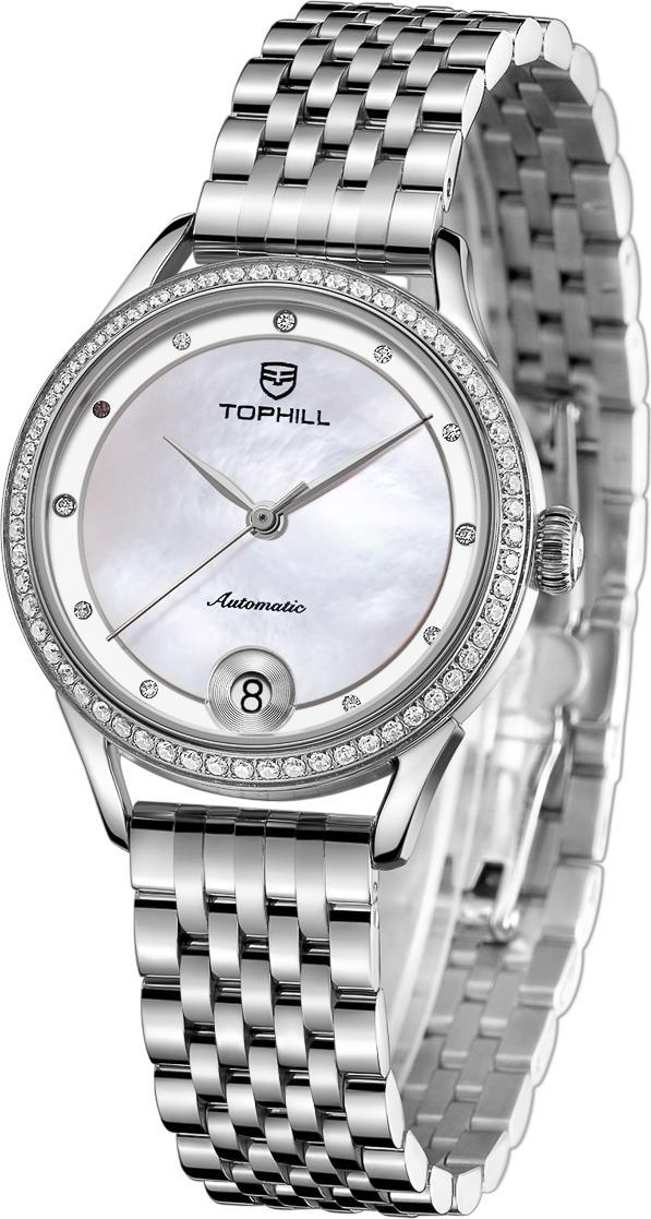 Đồng hồ nữ máy cơ tự động mặt xà cừ dây da và dây thép TOPHILL TE032L.M1288