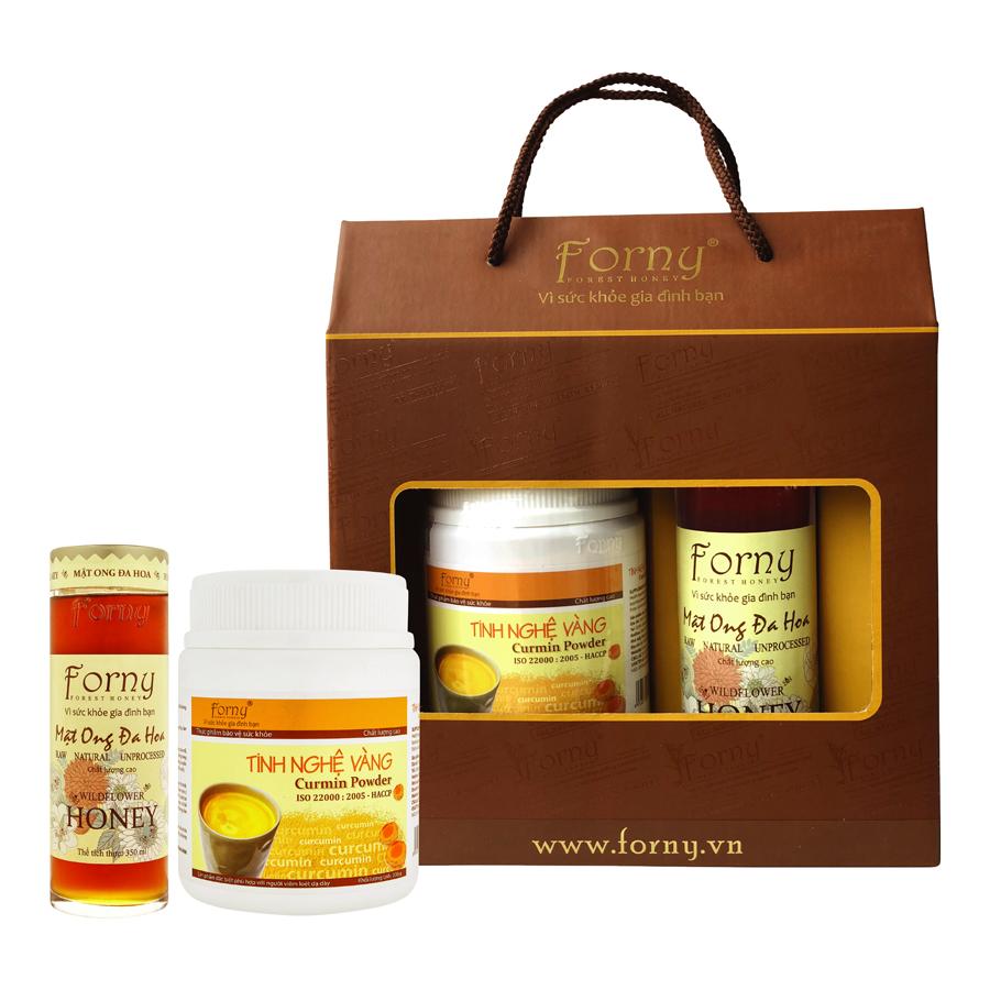 Hộp Quà tặng Thực phẩm chức năng Forny gồm 1 Tinh nghệ 300g và Mật ong Đa Hoa 350ml