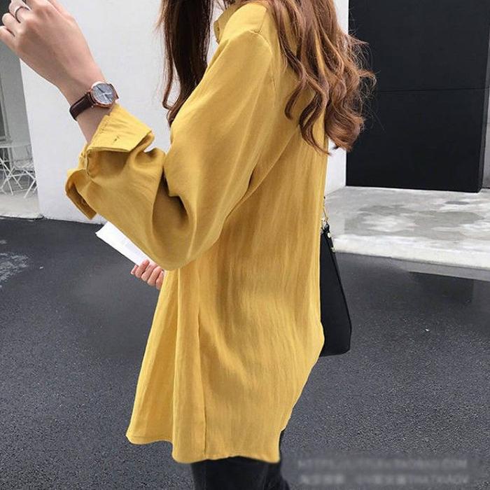 Áo sơ mi đũi nữ form rộng trẻ trung, thời trang phong cách Hàn