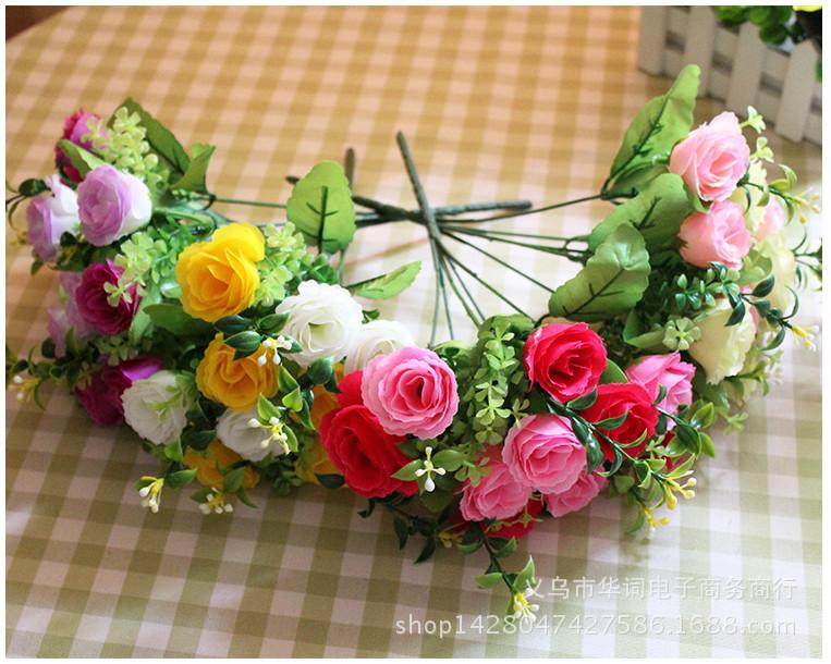 Hoa giả Bó 10 bông hoa hồng lụa màu hồng phối vàng nhạt