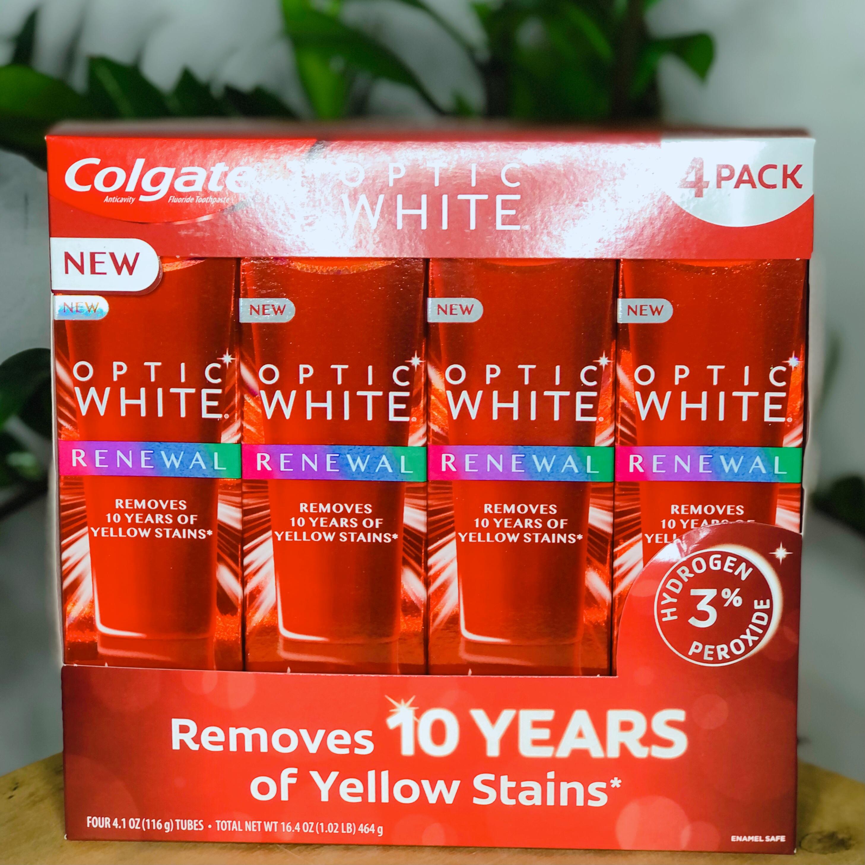 Set 4 kem đánh răng siêu trắng Colgate Optic White Platinum High Impact 4x127g