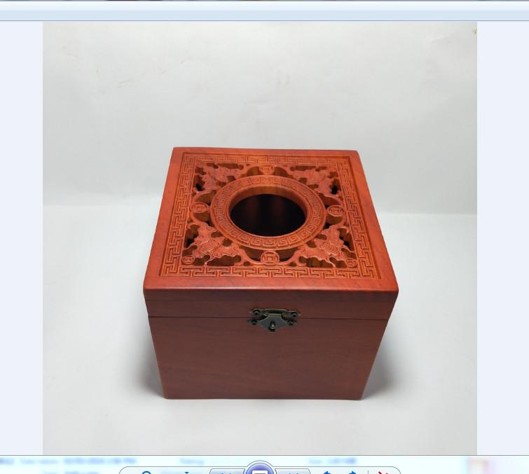 Hộp giấy ăn - hộp khăn giấy gỗ hương khổ vuông elai chạm đục con RƠI