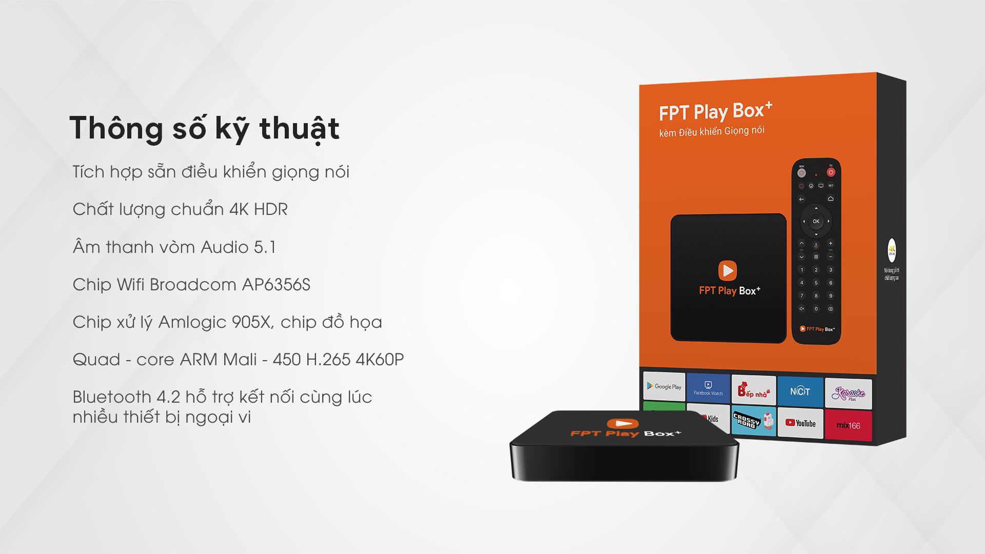 FPT Play Box+ 2019 Voice Remote hàng chính hãng  tặng kèm chuột quang không dây
