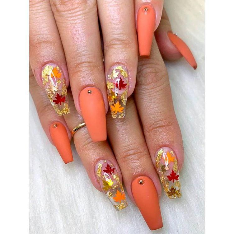 Sticker nails lá phong - hình dán móng 3D