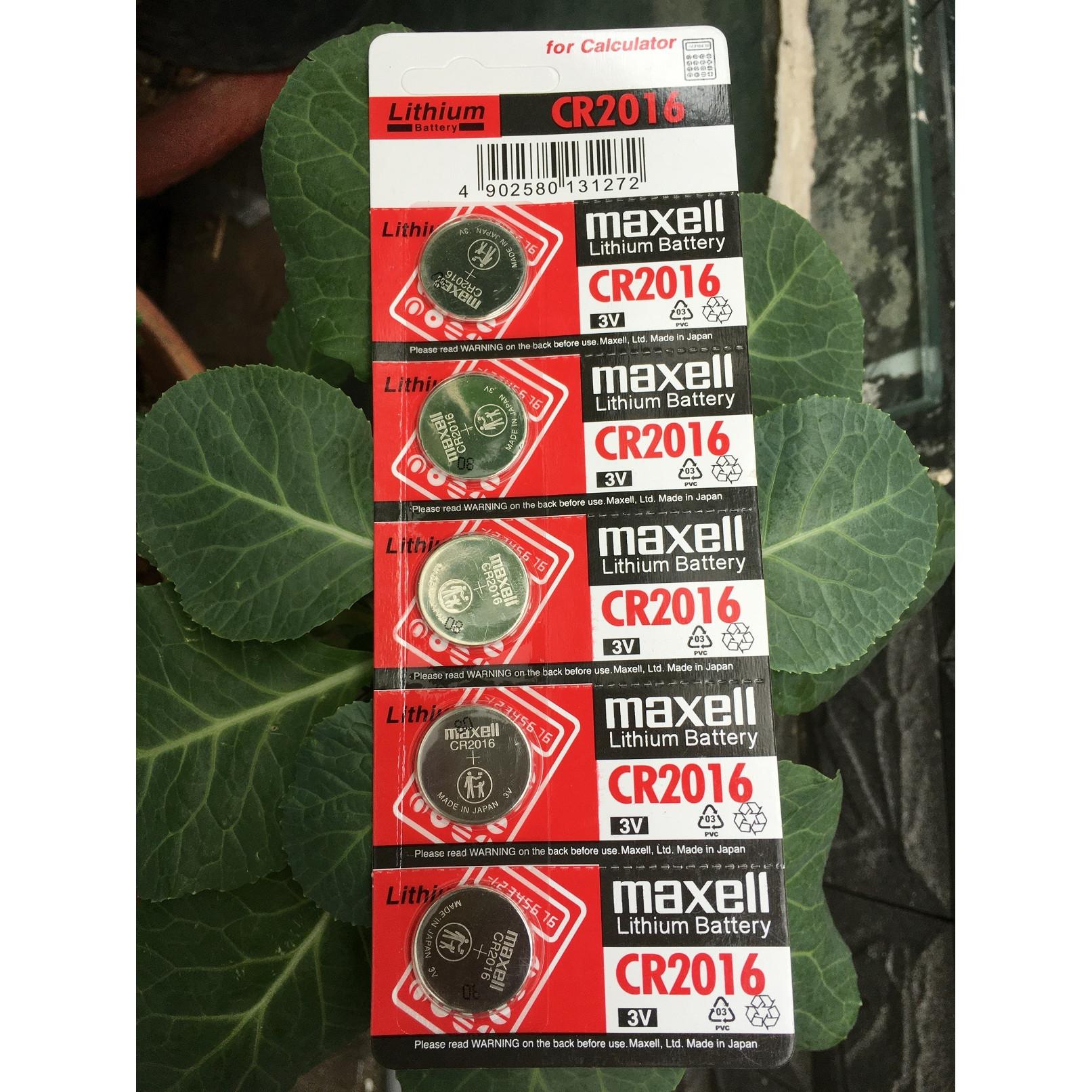 Pin CR2016 Maxell Lithium 3V vỉ 5 viên