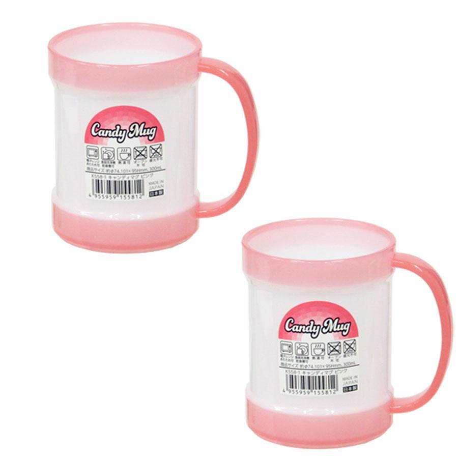 Cốc uống nước có tay cầm tiện lợi 300mL (viền hồng) - Hàng nội địa Nhật
