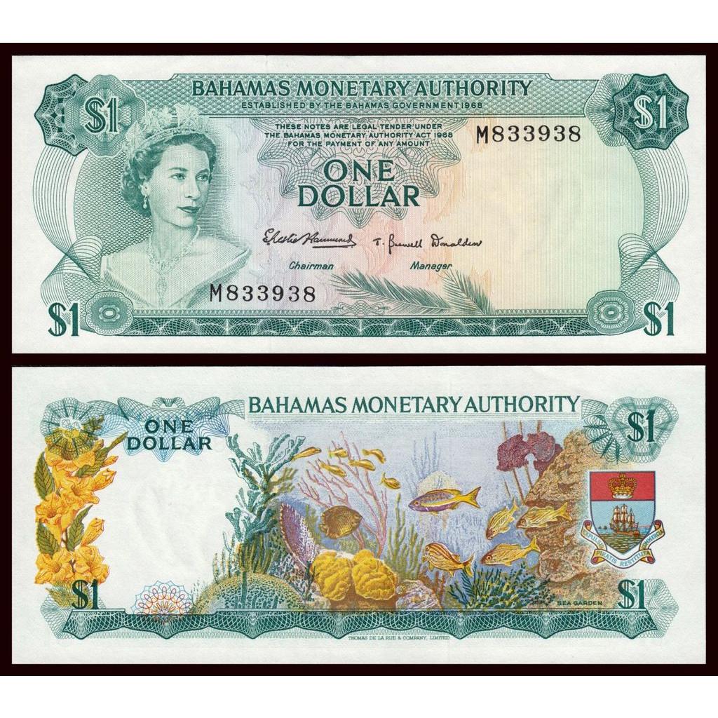 Tiền thế giới 1 dollar quần đảo Bahamas hình ảnh nữ hoàng Elizabethh II lúc mới lên ngôi