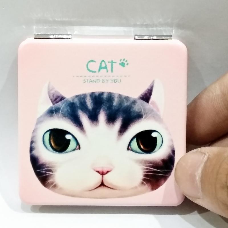 Gương 2 Mặt Bọc Da - Mẫu 1 - CAT - Màu Hồng
