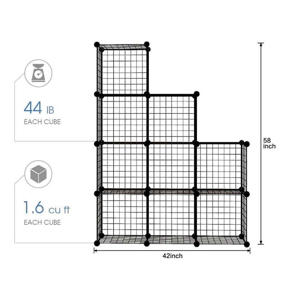 Tủ lưới sắt lắp ghép 9 ô (Lắp ghép tùy ý)