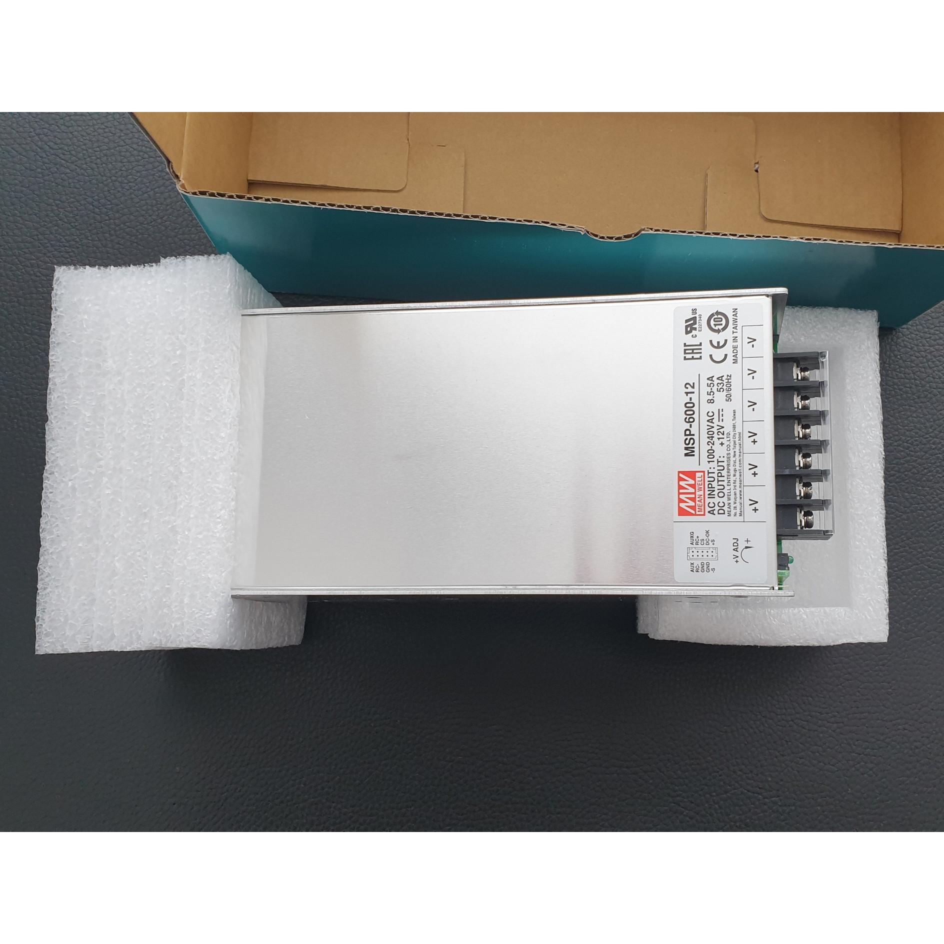 Nguồn công nghiệp Mean Well Công suất 600 W, Điện áp ra 12V, Model: MSP-600-12. Hàng chính hãng.