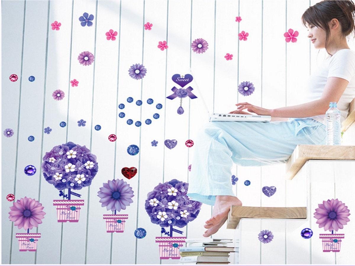 Decal dán tường năm chậu hoa tím dẹp