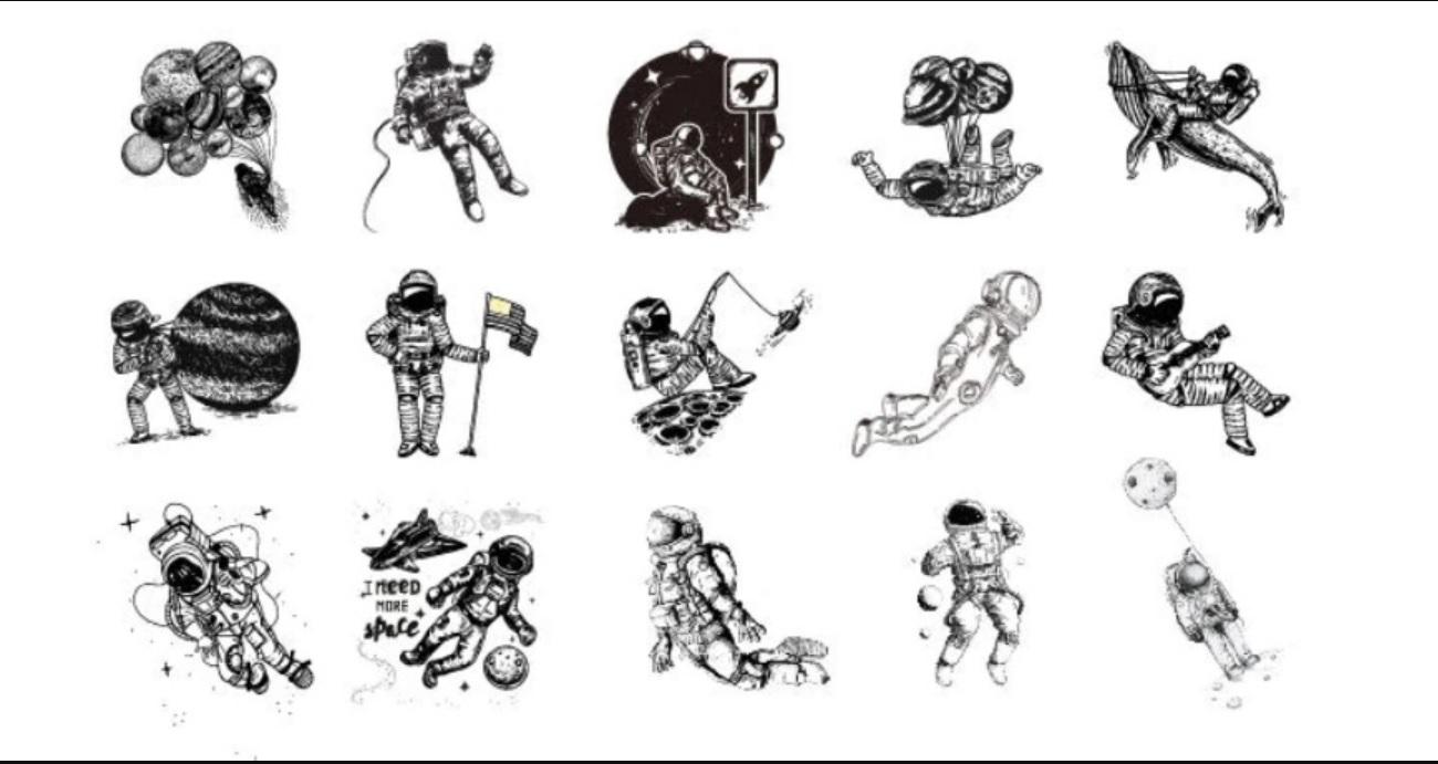 Hộp 45 Miếng Dán Sticker Trang Trí Du Hành Vũ Trụ