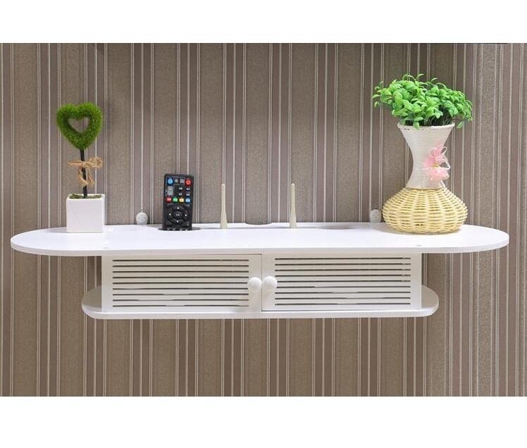 Kệ tivi trang trí tường màu trắng thanh lịch (100x12x25cm) TẶNG lá trắng trang trí tường