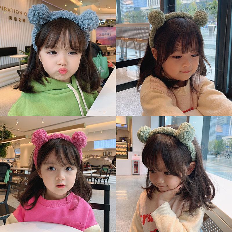 Bờm tóc cho bé vế tai gấu dễ thương , băng đô rửa mặt trang điểm , cài tóc trẻ phong cách Hàn quốc loại lông dày xịn