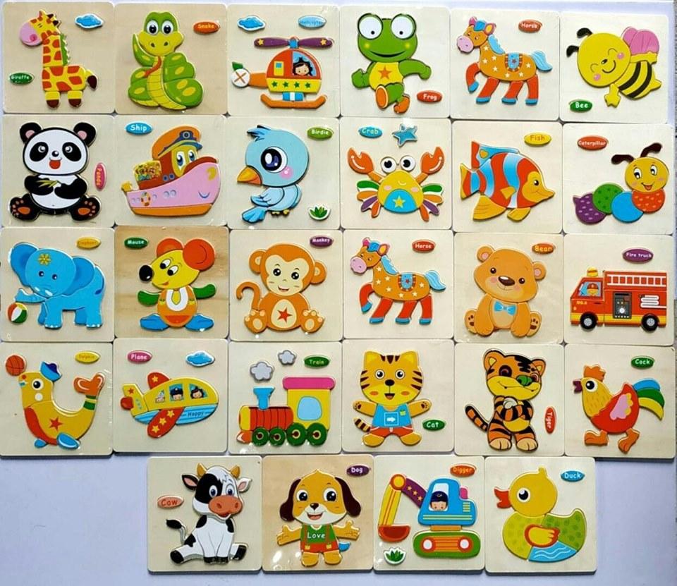 Đồ chơi cho bé làm quen với ghép hình - combo 10 tranh ghép 3D bằng gỗ giao mẫu ngẫu nhiên  MK0045