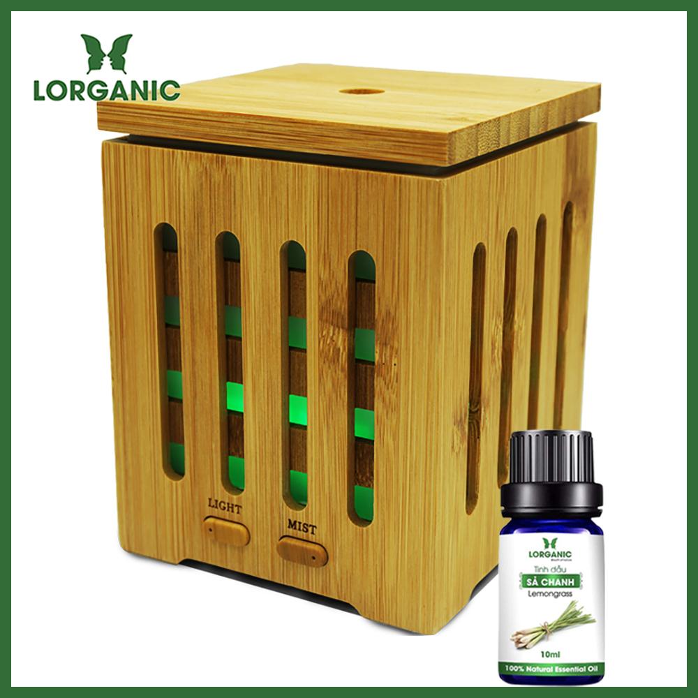 Máy khuếch tán/ máy xông tinh dầu gỗ tre cao cấp  Lorganic FX2035 + tinh dầu sả chanh (10ml)/ Phun sương sóng siêu âm/ thích hợp xông phòng 15-40m2