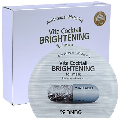 Combo 10 Mặt Nạ thiếc dưỡng trắng da BNBG Vita Cocktail Brightening Foil Mask 30ml x 10