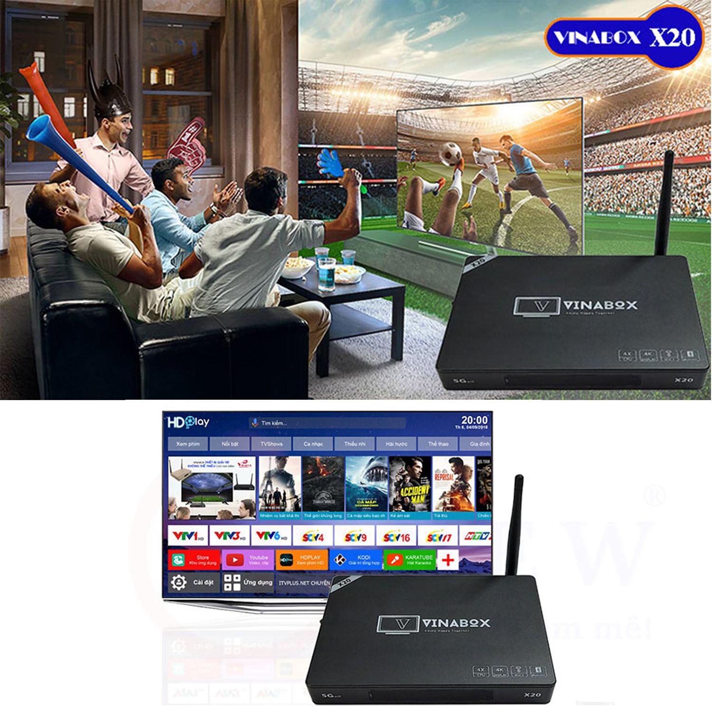 Android Tv Box VINABOX X20 - Ram 4GB - Mới Nhất Năm 2020 - Điều Khiển Bằng Giọng Nói - Android 10 Siêu Mượt - Hàng Chính Hãng