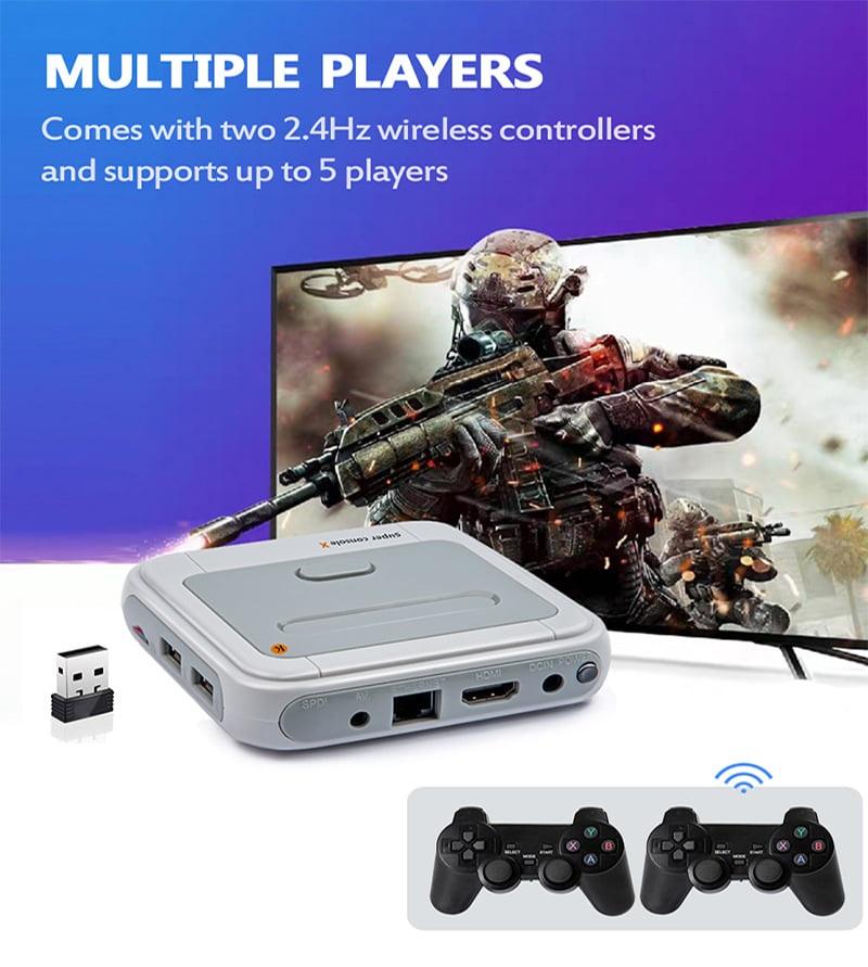 Máy chơi game điện tử Super Console X tay cầm gamer 4 nút - Máy trò chơi điện tử 4K HDR - HDMI - Hỗ trợ 4 tay cầm - Hỗ trợ kết nối LAN - 50 trình giả lập - 20 ngôn ngữ khác nhau Hệ thống Android 7.1, hỗ trợ KODI