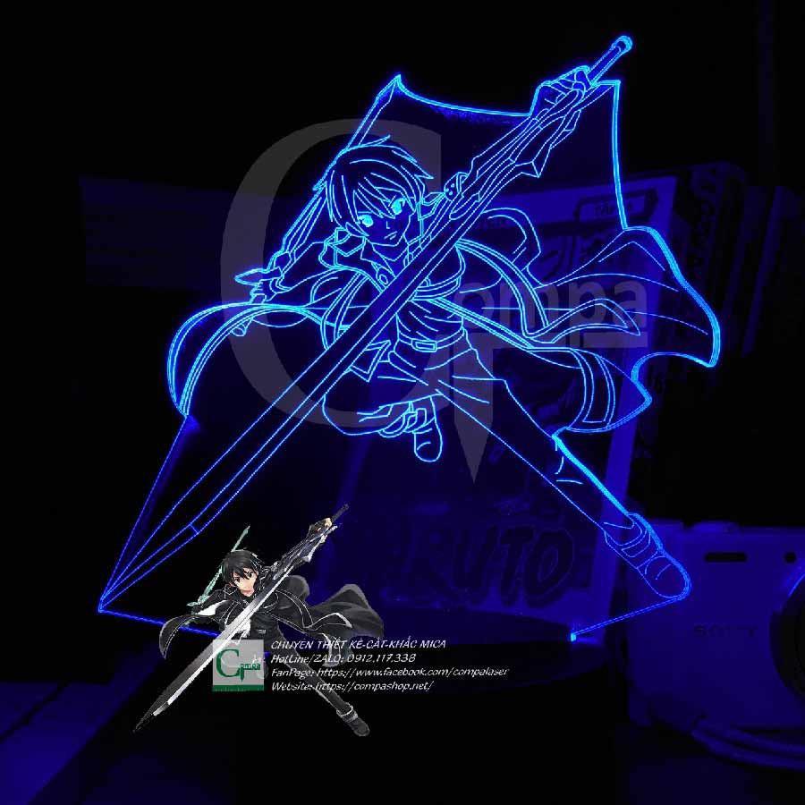 Đèn Ngủ Anime Đèn Ngủ LED 3D Sword Art Online Kirito Type 04 ASAO0104 16 màu tùy chỉnh