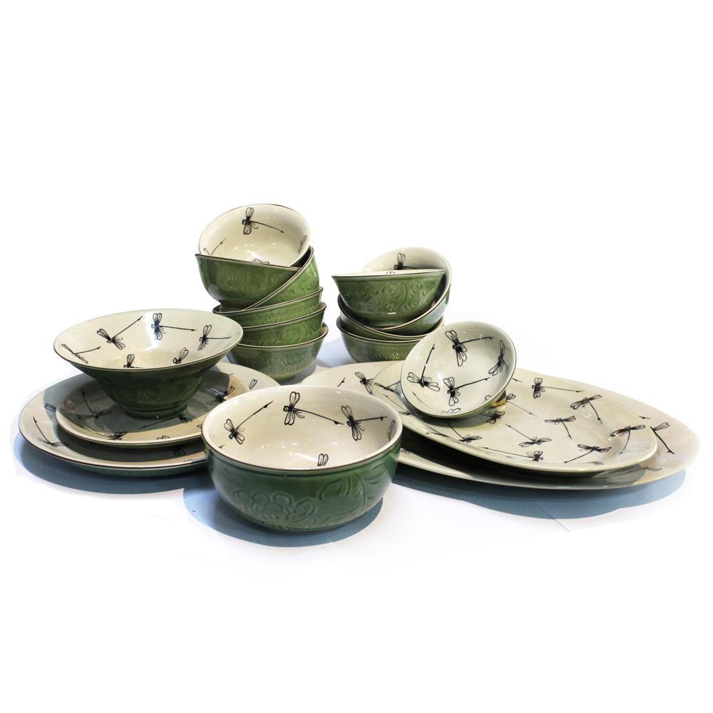 Bộ chén đĩa ( bộ bàn ăn) men xanh đồng vẽ chuồn chuồn MNV-MXH02