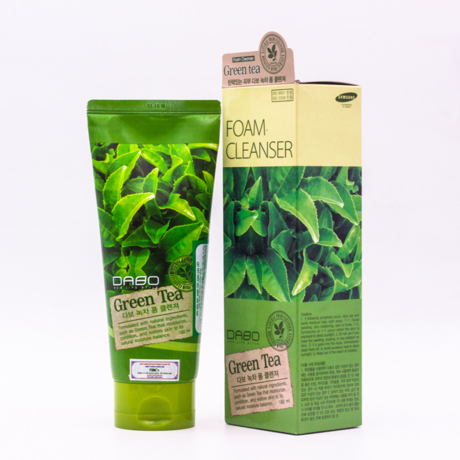 Sữa rửa mặt Trà Xanh cao cấp Hàn Quốc Dabo Green Tea (180ml) – Hàng Chính Hãng